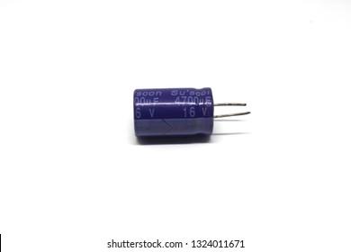 Capacitor isolated on white background.