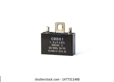 Capacitor for stand fan isolated on white background.Motor Start Capacitors.