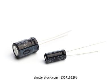 Capacitors isolated on white background - Image