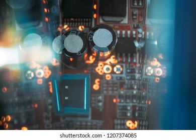 capacitors and microchip on printed circuit board. electronic components and  technology innovation.