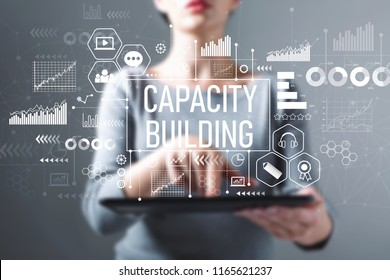 Capacity building with business woman using a tablet computer