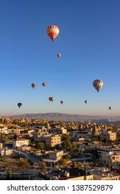 Capadocia/Turkey-October 10-2010:hot air balloon over capadocia valley in Turkey