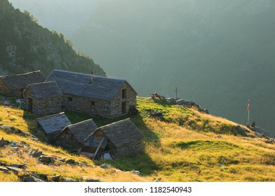 Capanna Cornavosa in the Ticino mountains, Switzerland,  an a sunny afternoon.