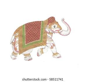 Caparisoned elephant on parade.Indian miniature painting on 19th century paper. Udaipur, India