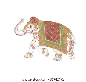 Caparisoned elephant on parade.Indian miniature painting on 19th century paper. Udaipur, India