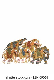 Caparisoned elephants on parade.	Indian miniature painting 		 Udaipur, India