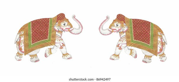 Caparisoned elephants on parade.Indian miniature painting   Udaipur, India