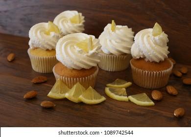 capcake and lemon on brown background
