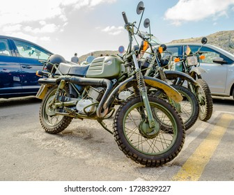 Capdepera, Spain , 03.10.2018 A very beautiful and at the same time old Hercules motorcycle