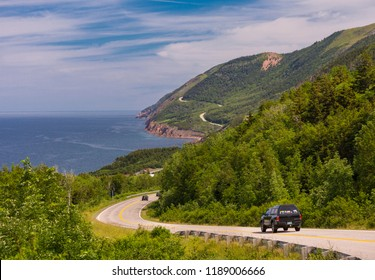CAPE BRETON, NOVA SCOTIA, CANADA - JULY 19, 2018: Cabot Trail scenic highway and coast, Cape Breton Highlands National Park.
