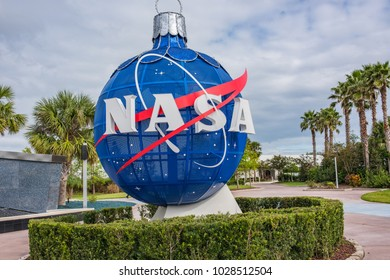 Cape Canaveral, December 5, 2017: Kennedy Space Center walkway entrance. Kennedy Space Center is a popular tourist attraction in Florida.