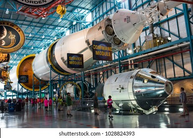 Cape Canaveral, December 5, 2017: Interior of the Kennedy Space Center in Cape Canaveral.  Kennedy Space CEnter is a popular tourist attraction in Florida.