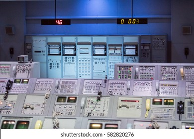 CAPE CANAVERAL, FL, USA - FEBRUARY, 7, 2017 -  Moon Space mission control room displayed at NASA, Kennedy Space Center in Florida