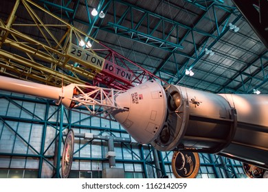Cape Canaveral, Florida - August 13, 2018: Staurn V Rocket at NASA Kennedy Space Center