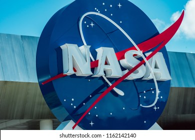 Cape Canaveral, Florida - August 13, 2018: NASA globe at NASA Kennedy Space Center
