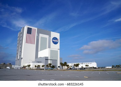 Cape Canaveral, Florida - February 12, 2017:  VAB, Vehicle Assembly Building, in Kennedy Space Center on February 12, 2017.