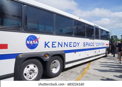Cape Canaveral, Florida - February 12, 2017:  Visitor Bus of Kennedy Space Center on February 12, 2017.