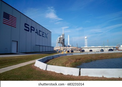 Cape Canaveral, Florida - February 12, 2017:  Space X launch pad in Kennedy Space Center on February 12, 2017.