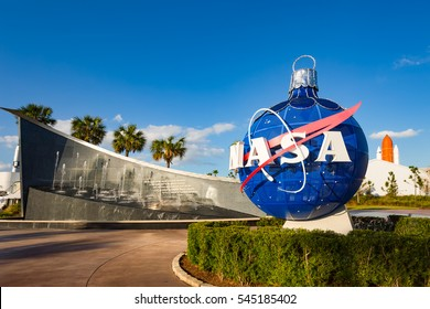 Cape Canaveral, Florida, USA - DEC, 2016: Kennedy memorial next to the Nasa globe