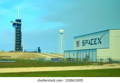 Cape Canaveral, Florida, U.S.A - February 17, 2019 - The view of the SpaceX building next to a rocket launch pad