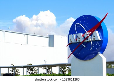 Cape Canaveral, Florida, U.S.A - February 19, 2019 - The logo of National Aeronautics and Space Administration (NASA) at Kennedy Space Center