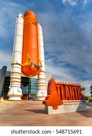 Cape Canaveral, Florida, USA - JAN, 2017: Entrance to the NASA Space Shuttle Atlantis Exhibit at Kennedy Space Center Visitor Complex. United States