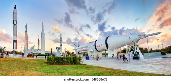 Cape Canaveral, Florida, USA - JAN, 2017: Apollo rockets in the rocket garden at Kennedy Space . United States.