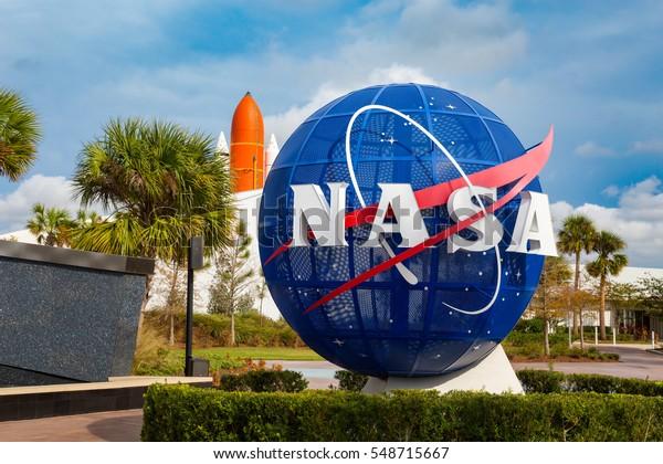 Cape Canaveral, Florida, USA - JAN, 2017: Kennedy memorial next to the Nasa globe. United States