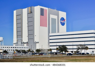 CAPE CANAVERAL, FLORIDA, USA - JANUARY 10, 2013: NASA Main Building, Spacecraft assembly building