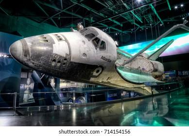 Cape Canaveral, Florida, USA - JANUARY 2, 2017: NASA Kennedy Space Center Museum, shuttle Atlantis, a quick walk around