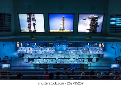 Cape Canaveral, Florida, USA - MARCH 20, 2015: NASA Kennedy Space Center Museum, real Apollo mission launch control center