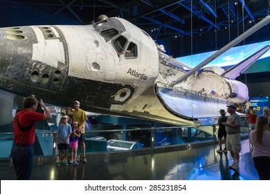 Cape Canaveral, Florida, USA - MARCH 20, 2015: NASA Kennedy Space Center Museum, shuttle Atlantis, a quick walk around