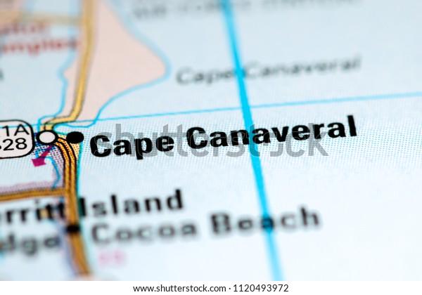 Cape Canaveral Florida Usa On Map Stock Photo (Edit Now ... on map showing port canaveral florida, map showing cape canaveral, hotel cape canaveral fl, map florida fl, map sarasota fl, weather cape canaveral fl, map of cape canaveral area,