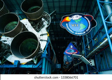 Cape Canaveral, Florida/United States - 02/21/19:Saturn V Rocket engines and mission patches at Kennedy Space Cen