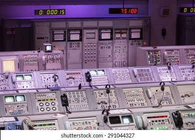 CAPE CANAVERAL, November 1th, 2014.  The NASA's Control Station displaying control panels, countdown clocks and communication devices at Kennedy Space Center in Florida.