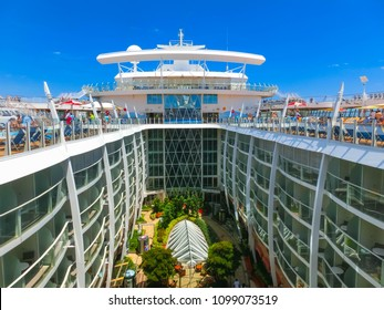 Cape Canaveral, USA - April 29, 2018: The central park at cruise liner or ship Oasis of the Seas by Royal Caribbean docked in Cape Canaveral, USA on April 29, 2018. The second largest passenger ship