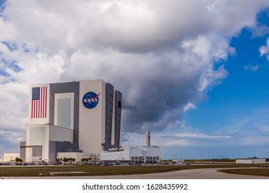 Cape Canaveral, USA - ca. March 2017: The huge Vehicle Assembly Building on Cape Canaveral NASA base in Florida will be used to assemble the Space Launch System