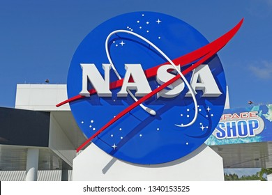 CAPE CANAVERAL, USA - November 15, 2017: Big sign of NASA in Kennedy Space Center, Florida