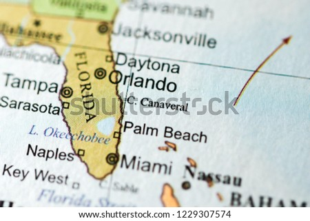Florida Geography Map.Cape Canaveral Usa On Geography Map Stock Photo Edit Now