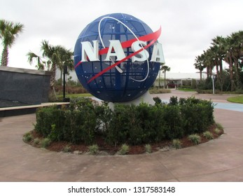 Cape Canaveral/USA -  February 28 2014: NASA logo at the John F. Kennedy Space Center entrance. This is the USA launch site that has been used for every NASA human space flight since December 1968.