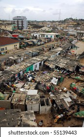 Cape Coast fishing houses and town in Ghana