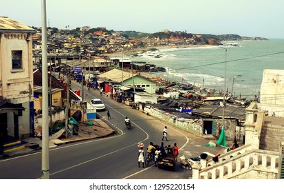 Cape Coast, Ghana, April, 8th, 2018. View at Cape Coast city from Cape Coast Castle.