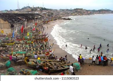 CAPE COAST,  GHANA - CIRCA NOVEMBER 2010 : Scenery of BEACH and BOAT at CAPE COAST.