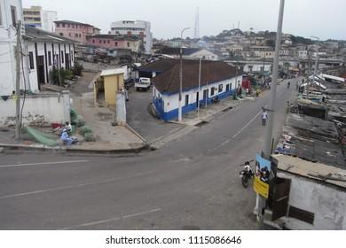 CAPE COAST,  GHANA - CIRCA NOVEMBER 2010 : Scenery of street in CAPE COAST.