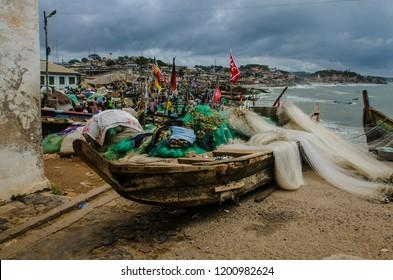 Cape Coast, Ghana - September the 23rd 2018. Fishermen in front of Cape Castle.
