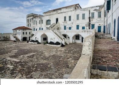 Cape Coast, Ghana - September the 23rd 2018. A courtyard of Cape Coast Castle.