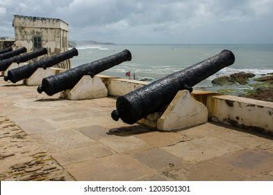 Cape Coast, Ghana - September the 23rd 2018. Cannons at a Cape Coast Castle.