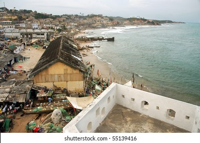 Cape Coast township and foreshore from the castle