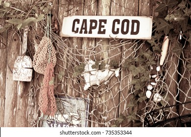Cape Cod Fence With Shells  Vintage Tone--Retro Look