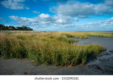Cape Cod north shore beach with marshy grass